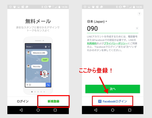 line facebook認証