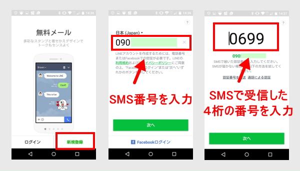 line SMS認証